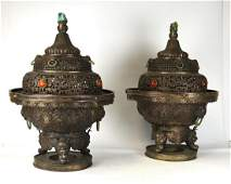 Large Pair of Chinese Silvers Incense Burners