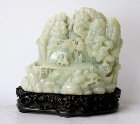 Finely Carved Chinese Celdaon Jade Boulder W Stand