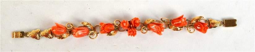 18K Gold Bracelet with Carved Coral Insert
