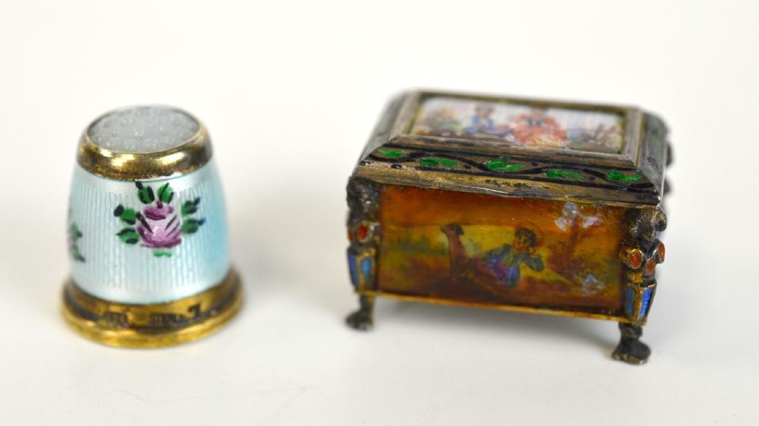 Two Enamel Silver Miniatures (Box & Thimble)
