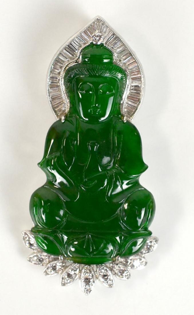 Fine Natural Jadeite Pendant of Guanyin