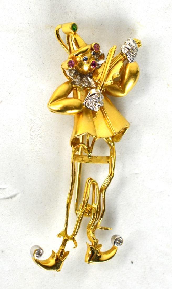 Yvel 18K Gold Brooch with Diamonds