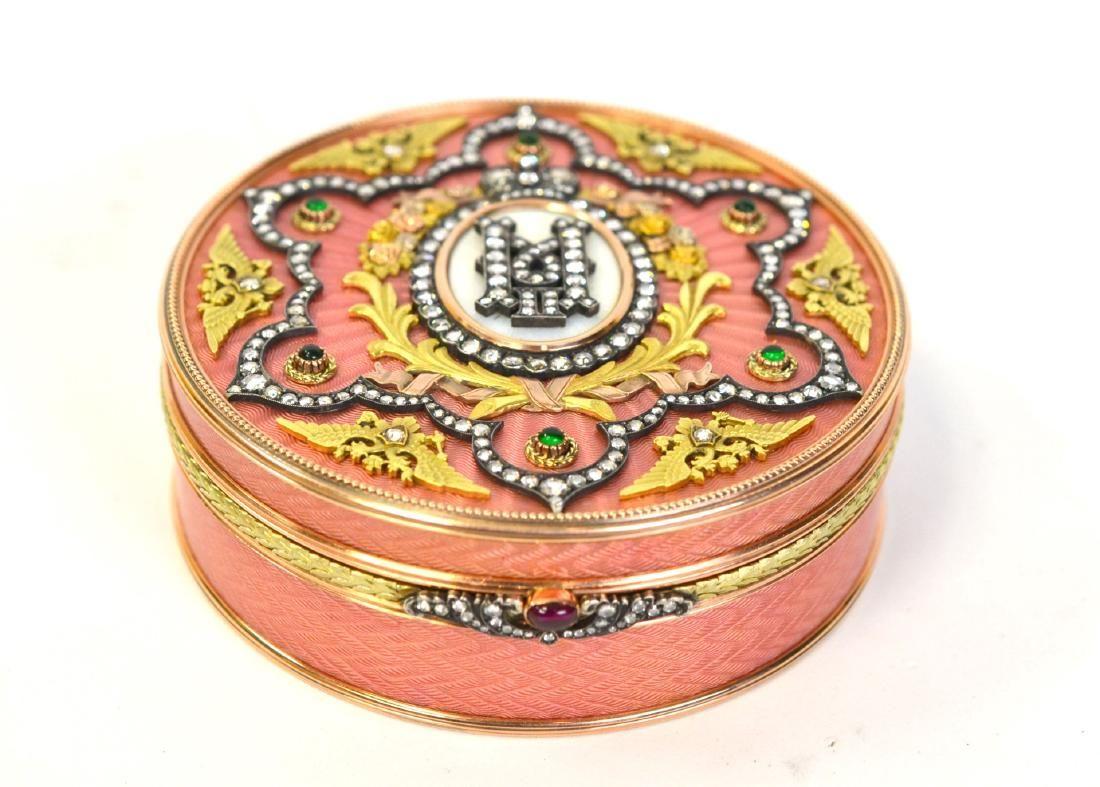 Possible Faberge Russian 14K Gold Enamel Box