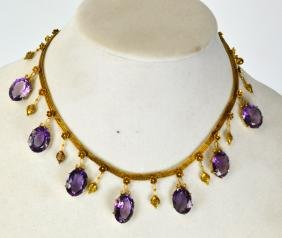 14k Gold Victorian Necklace With Amethyst