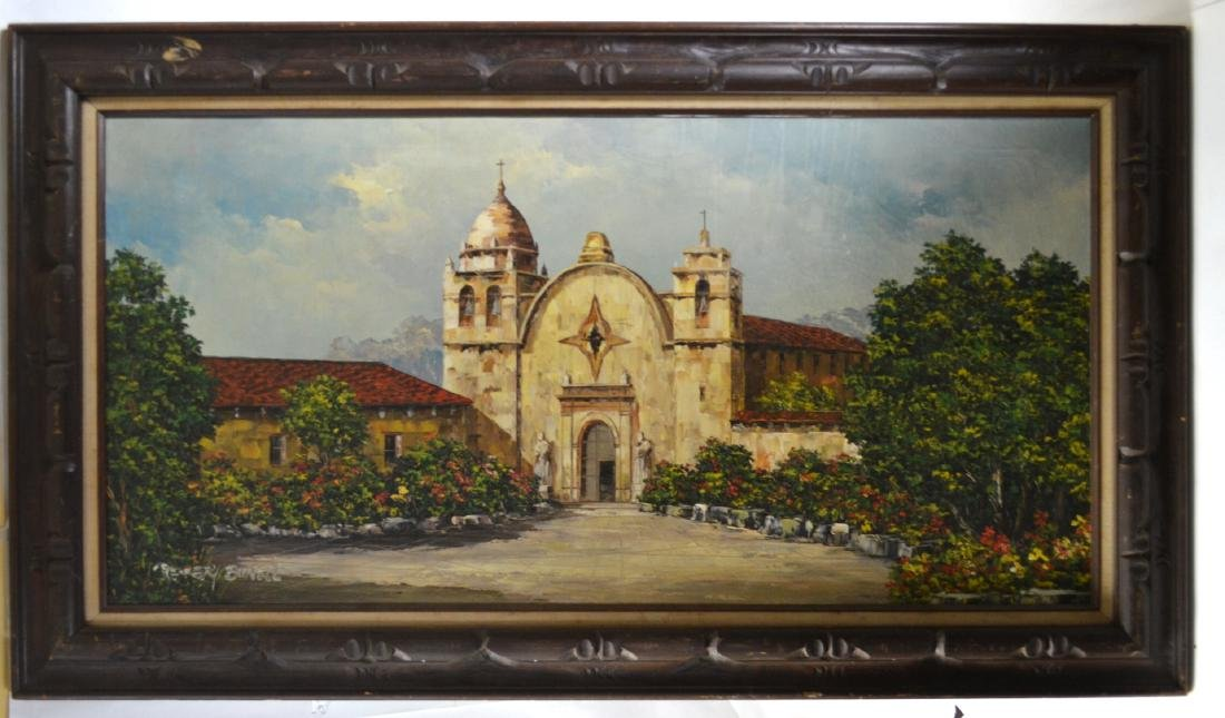 Oil Painting of White Church Buildings