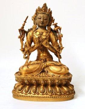 Fine Chinese Gilt Bronze Buddha Figure