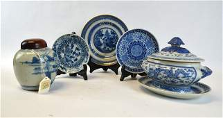 Group of Chinese Blue & White Porcelain Pieces