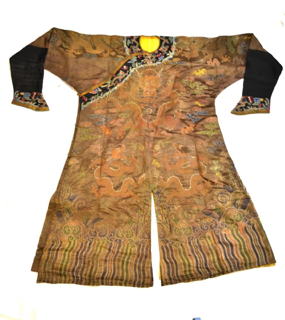 Chinese Brown Embroidered  Dragon Robe