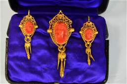 22K Gold and Coral Cameo Brooch  Earrings