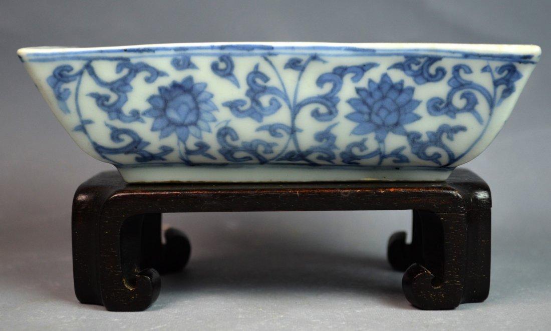 Important Ming. Blue & White Rectangular Dish