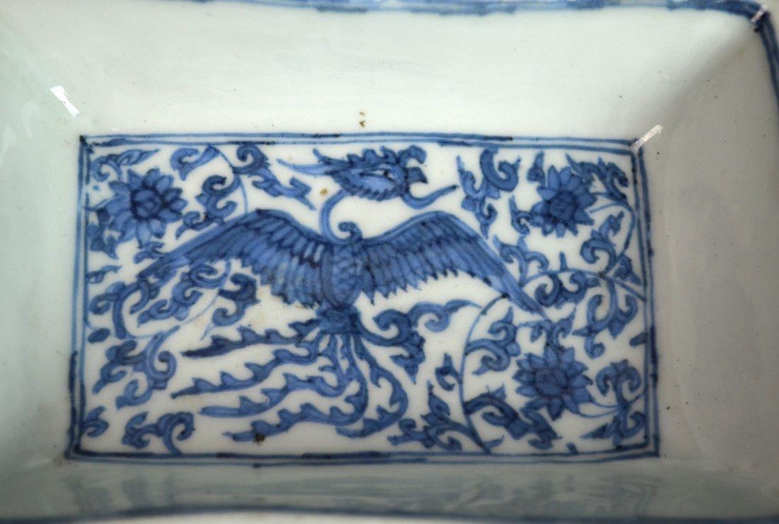 Important Ming. Blue & White Rectangular Dish - 2