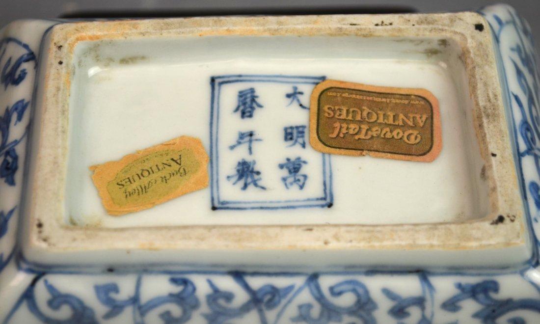 Important Ming. Blue & White Rectangular Dish - 5