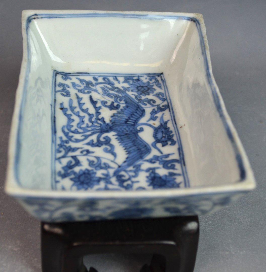 Important Ming. Blue & White Rectangular Dish - 9
