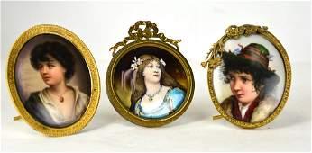 Three Gilt Bronze Framed Miniature Plaques