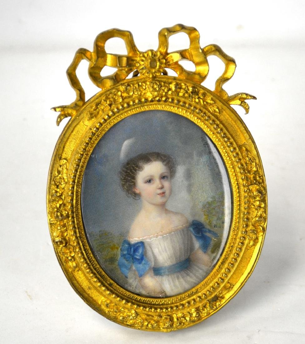 Fine French Miniature of A Young Girl in Frame