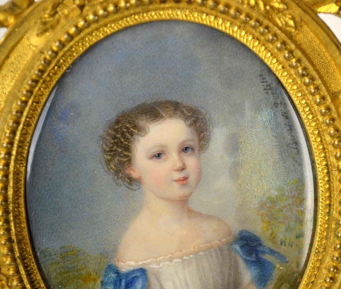 Fine French Miniature of A Young Girl in Frame - 2
