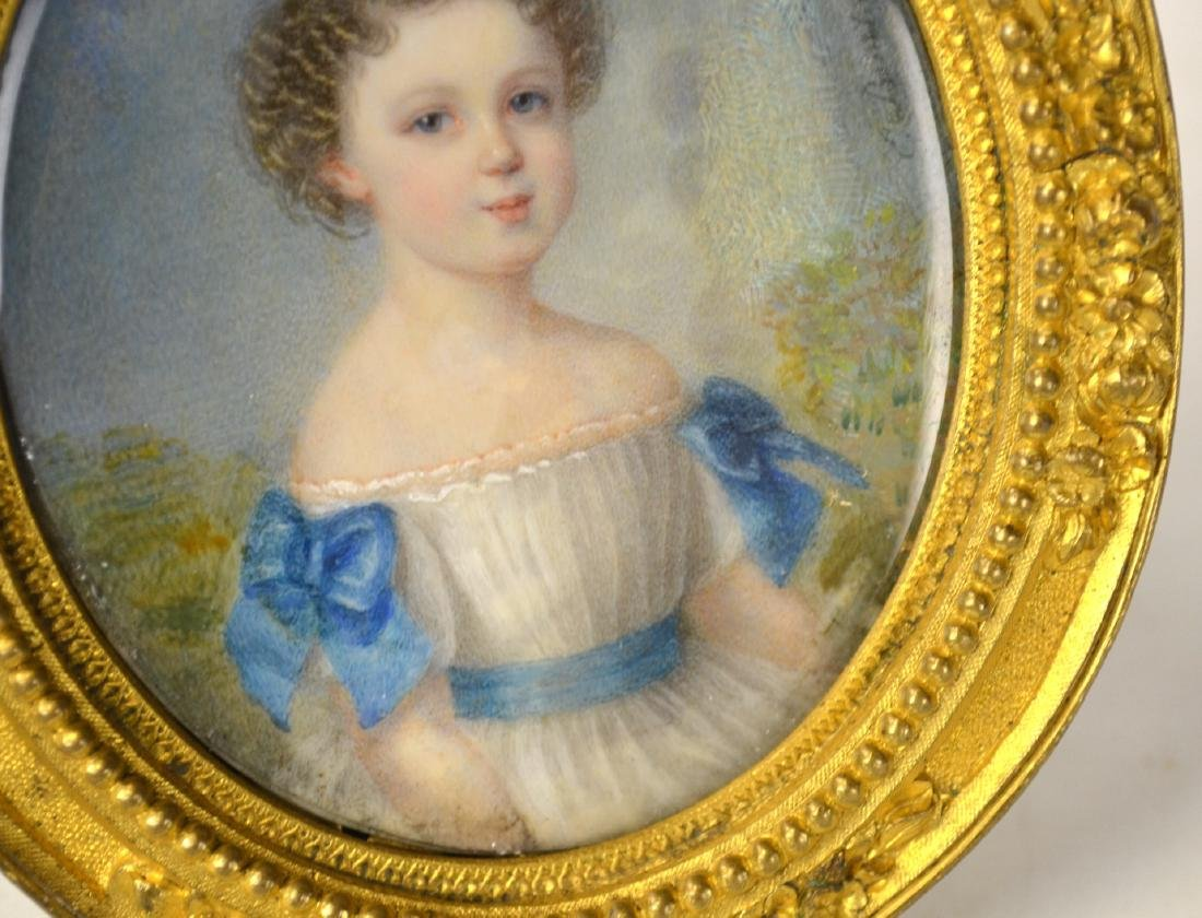 Fine French Miniature of A Young Girl in Frame - 3