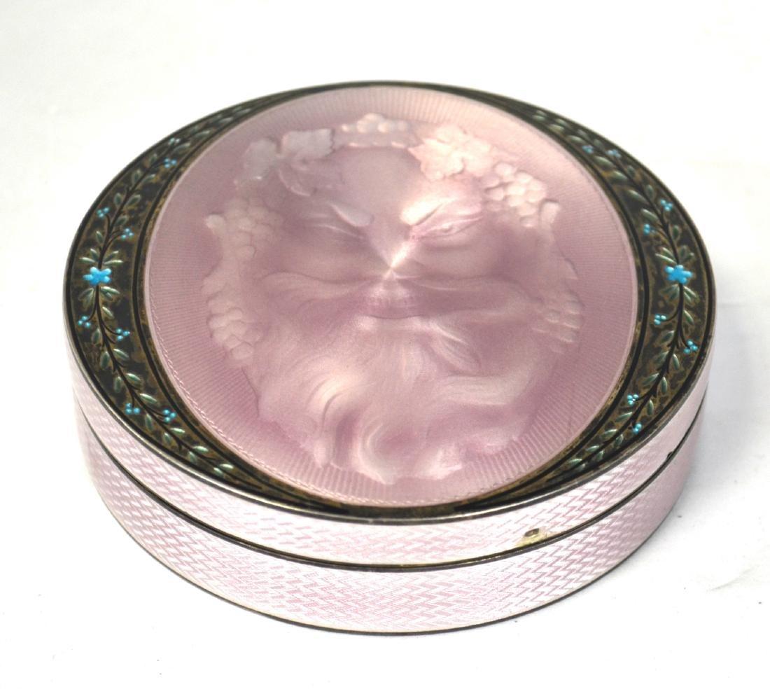 Round Pink Enamel on Silver Box w Zeus