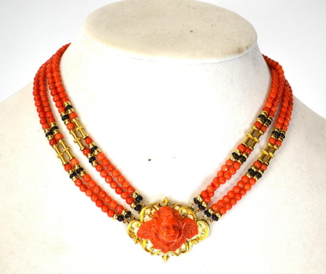 Coral Necklace Cameo