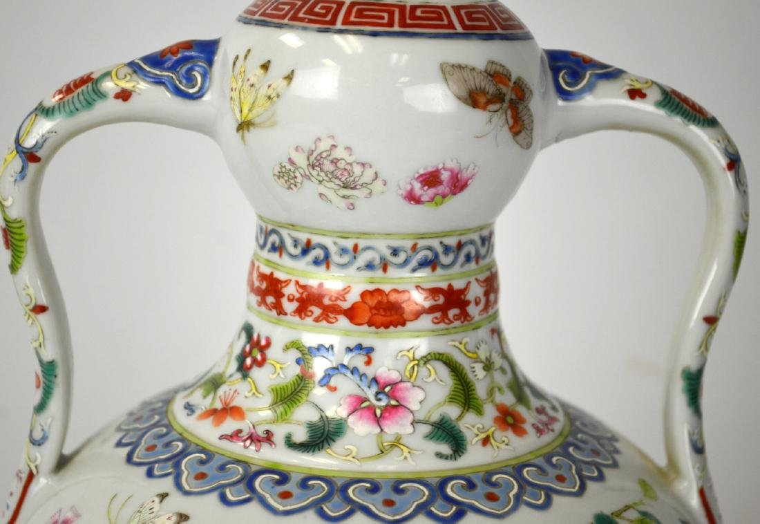 Chinese Famille Rose Vase with Handles - 2
