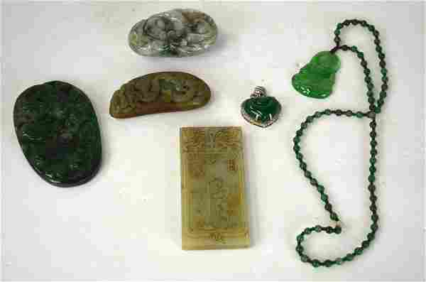 Six Pcs Chinese Jade and Stone Carvings