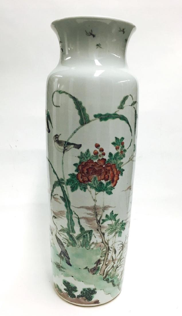 Chinese Famille Verte Cylinder Porcelain Vase