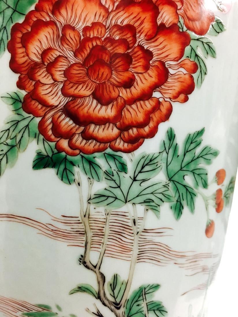 Chinese Famille Verte Cylinder Porcelain Vase - 2