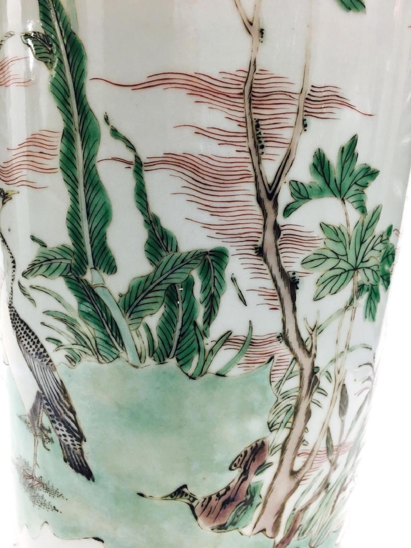 Chinese Famille Verte Cylinder Porcelain Vase - 3
