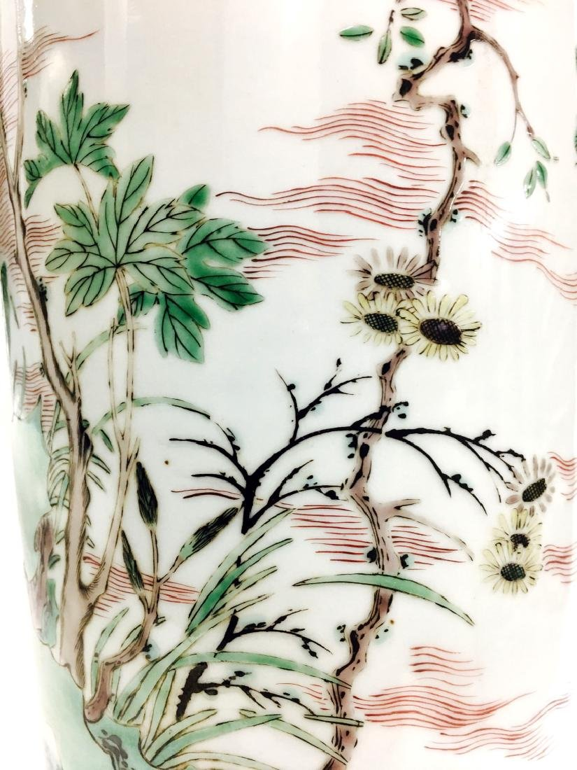 Chinese Famille Verte Cylinder Porcelain Vase - 4