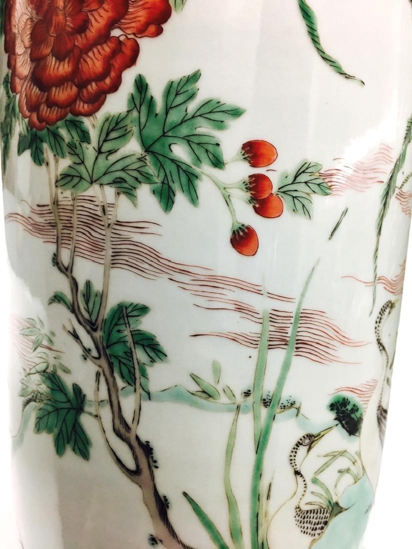 Chinese Famille Verte Cylinder Porcelain Vase - 5
