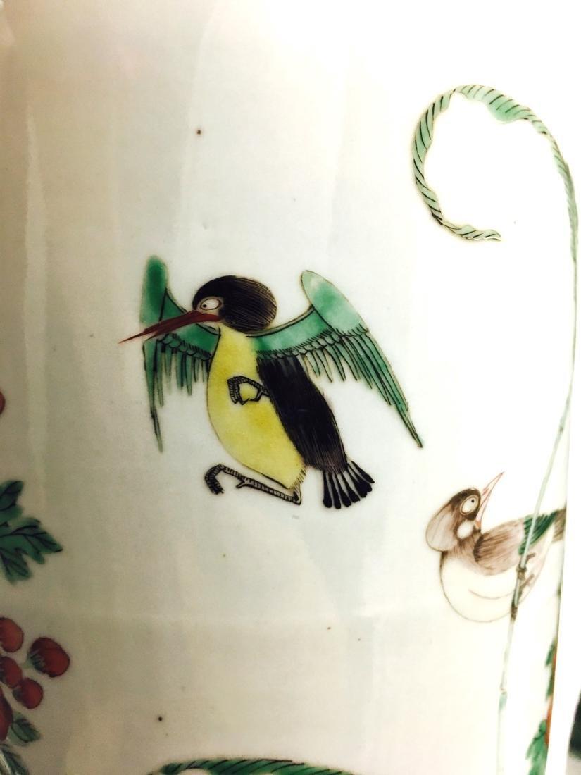 Chinese Famille Verte Cylinder Porcelain Vase - 6