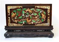 Chinese Huanghuali Cabinet w. Stone Inlaid