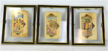Three Framed Antique Turkey Paintings of Islamic