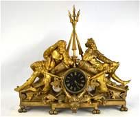 Large French Gilt Bronze Clock