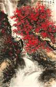 Chinese Watercolor Painting Scroll by Li, Xiongcai