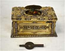 German Silver Singing Bird Music Box