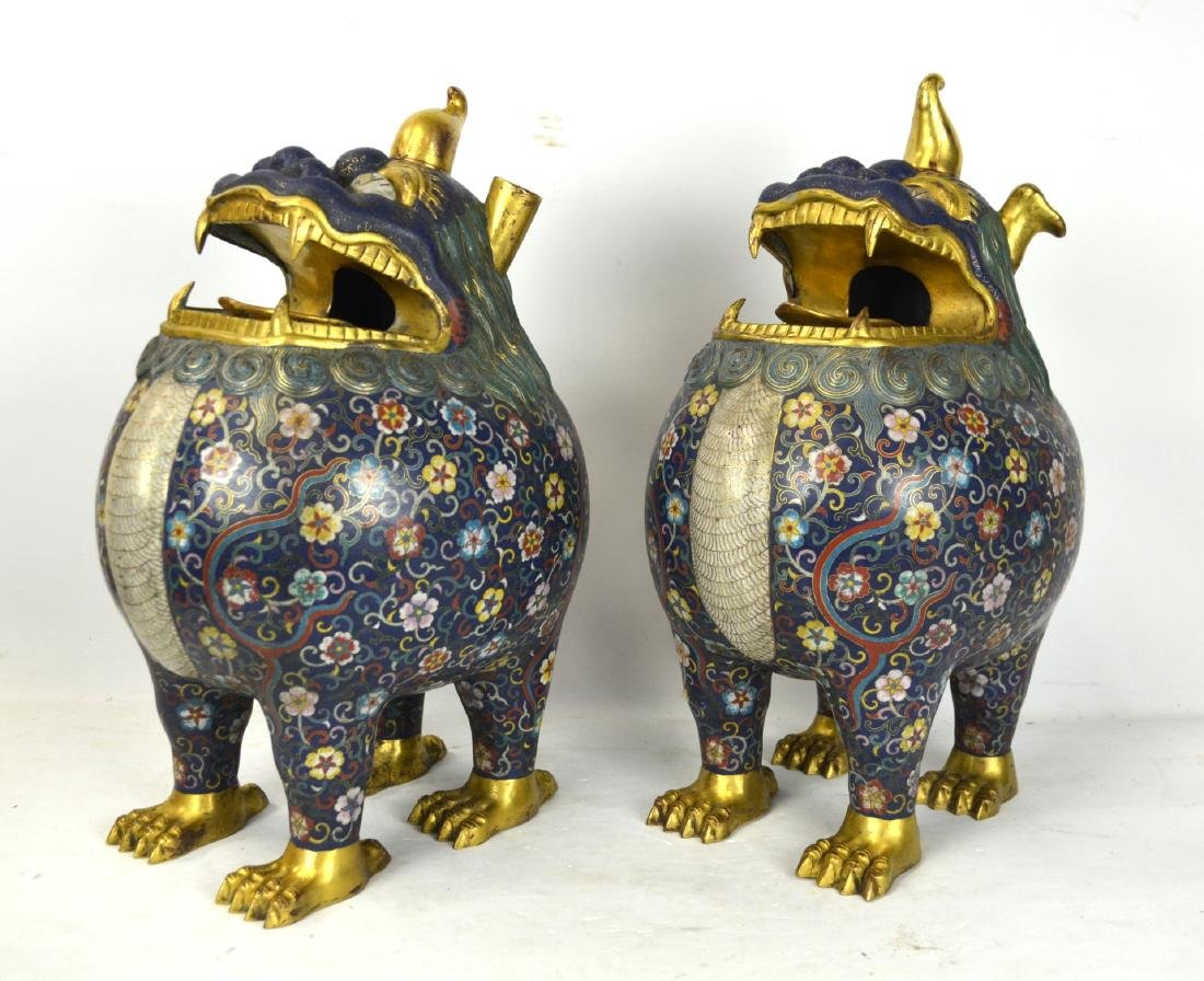 Pr Chinese Cloisonne Foo Dogs