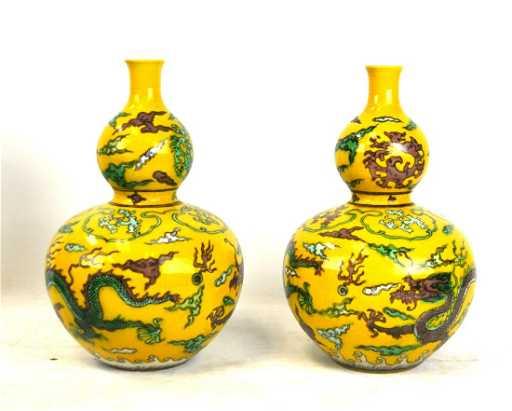 Pr Chinese Sancai Glazed Double Gourd Vases