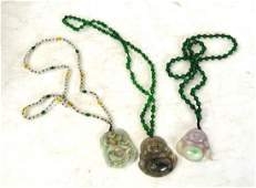 Three Chinese Jade Beaded Necklaces w Pendants