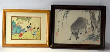 Two Chinese Framed Watercolor Paintings