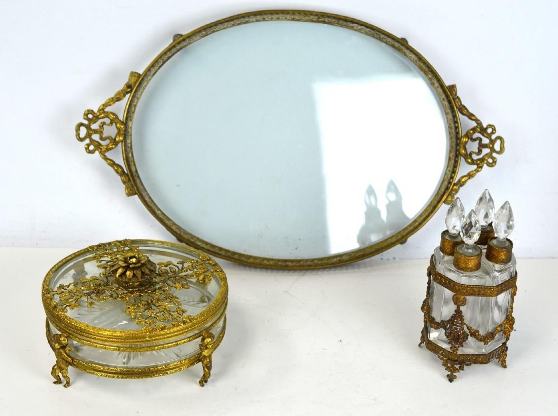 Three Pcs of Bronze & Glass Objects