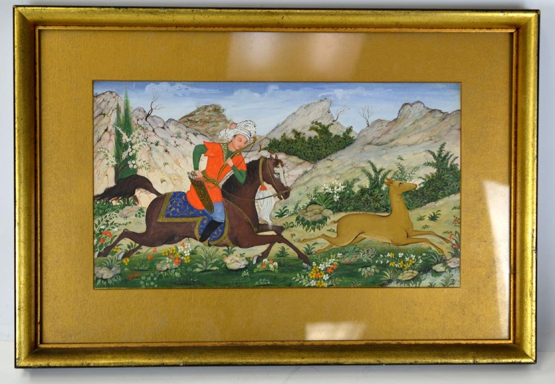 Persian Framed Miniature Hunting Scene Signed