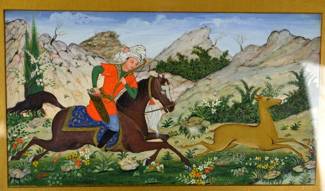 Persian Framed Miniature Hunting Scene Signed - 2