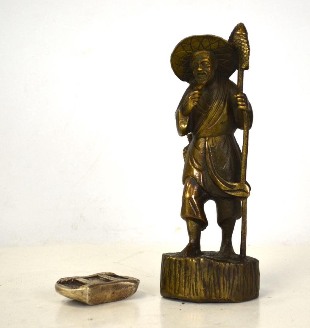 Japanese Bronze Figure and Chinese Sycee