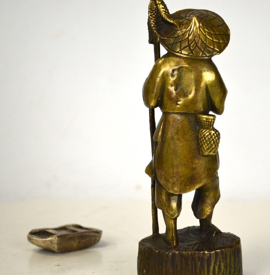 Japanese Bronze Figure and Chinese Sycee - 4