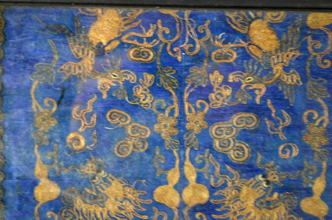 Framed Chinese Embroidered Panel w Dragons - 3