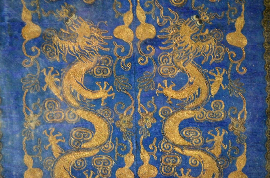 Framed Chinese Embroidered Panel w Dragons - 4