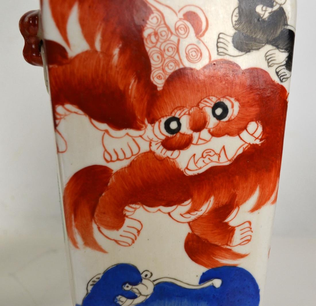 Pair of Chinese Porcelain Vases w Red Lions - 3