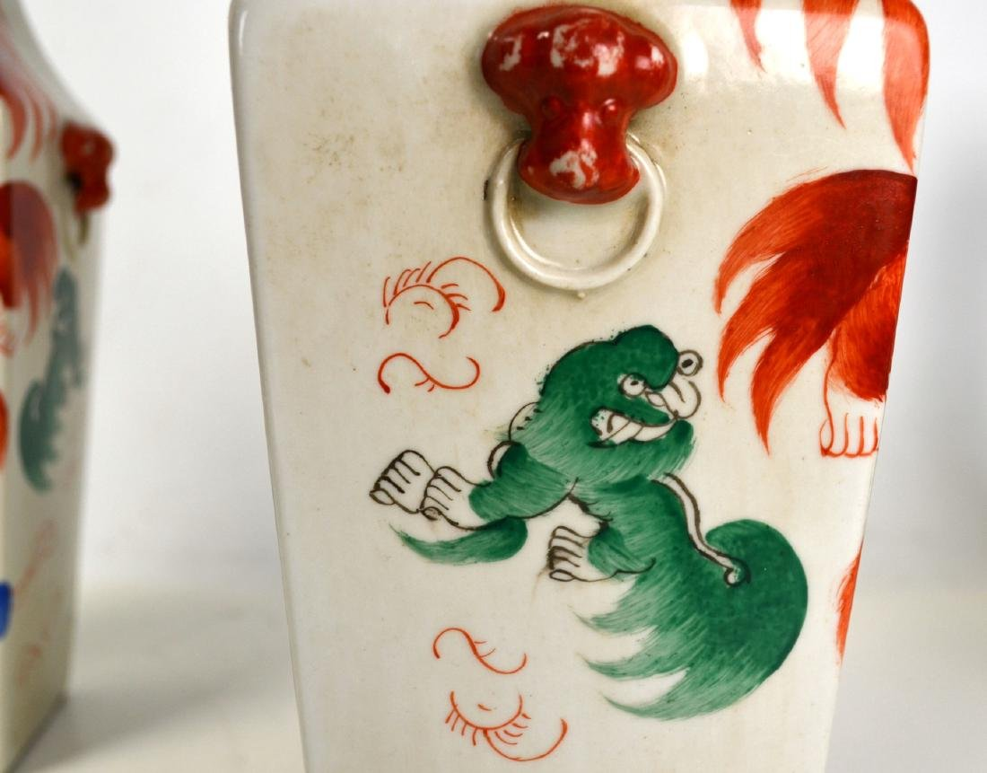 Pair of Chinese Porcelain Vases w Red Lions - 4