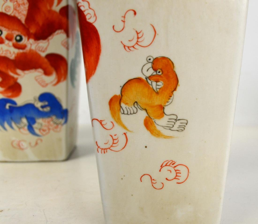 Pair of Chinese Porcelain Vases w Red Lions - 6